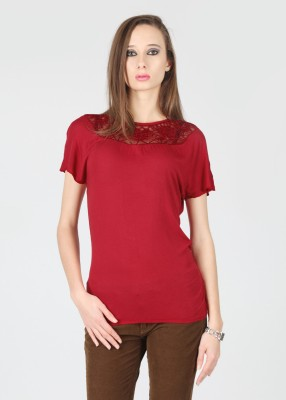 Flying Machine Solid Women's Round Neck Red T-Shirt at flipkart