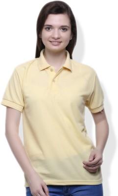 GOINDIASTORE Solid Women's Polo Yellow T-Shirt