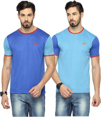 Canyons Solid Men's Round Neck Blue, Light Blue T-Shirt