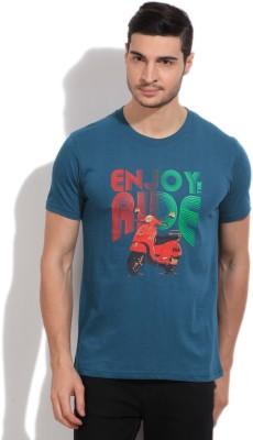 Fila Printed Mens Round Neck Blue T-Shirt