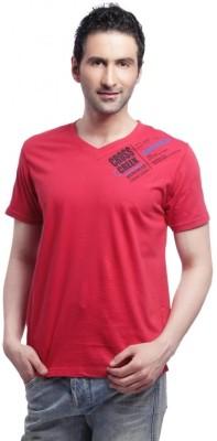 Cross Creek Printed Men's V-neck Red T-Shirt