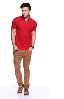 Purys Solid Men,s Polo Red T-Shirt