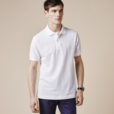 sungrace Solid Boy's Polo Neck White T-Shirt