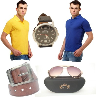 Tele Queen Solid Men's Polo Neck Blue, Yellow T-Shirt