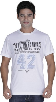 Element of Humanity Graphic Print Men's Round Neck White T-Shirt