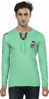 Purple Haze Printed Men's Henley Green T-Shirt