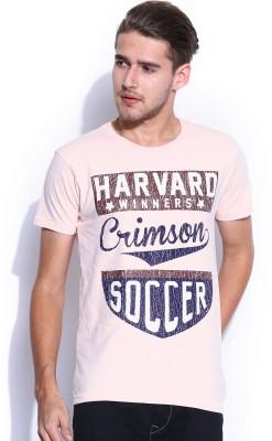 Harvard Printed Men's Round Neck Pink T-Shirt