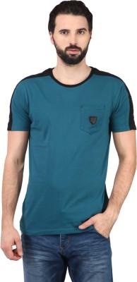 Ringspun Solid Men's Round Neck Blue T-Shirt