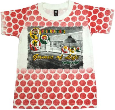 Just In Plus Printed Boy's Round Neck Multicolor T-Shirt