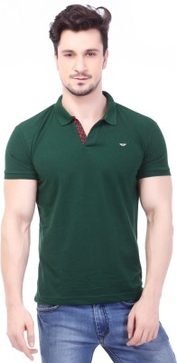 Rugby Solid Men's Polo Neck Dark Green T-Shirt