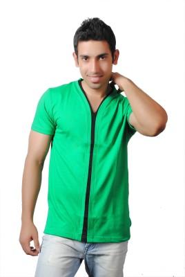 Brand Teez Solid Men's V-neck Green T-Shirt