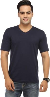 BepoyZ Solid Men's V-neck Dark Blue T-Shirt