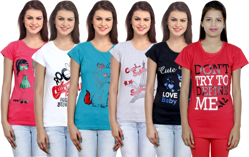 IndiStar Printed Women's Round Neck Multicolor T-Shirt(Pack of 6)