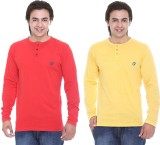 Cee-For Solid Men's Henley Red, Yellow T...
