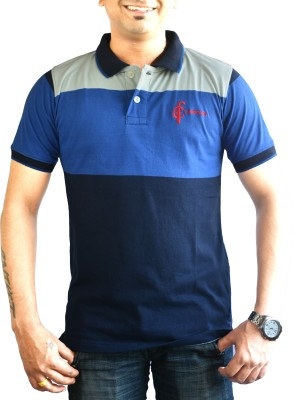 CAPRICIOUS Self Design Men's Polo Neck White, Blue, Dark Blue T-Shirt