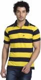 YOO Striped Men's Polo Neck Blue T-Shirt