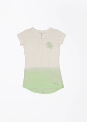 Cherokee Kids Solid Girl's Henley White, Green T-Shirt