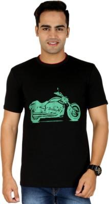 PRO Lapes Printed Men's Round Neck Black T-Shirt