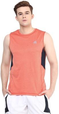Aurro Solid Men's Round Neck Orange T-Shirt