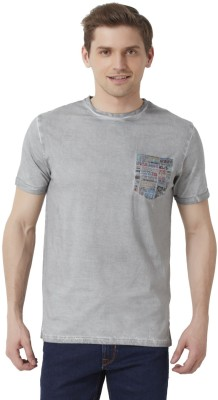 Peter England Solid Men's Round Neck Grey T-Shirt