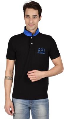 Royal Sport League Solid Men's Polo Neck Black T-Shirt