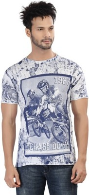 Afylish Printed Men's Round Neck Blue T-Shirt