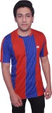 Dyed Colors Striped Men's Round Neck Red...