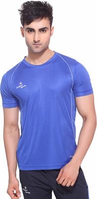 Sport Sun Solid Men's Round Neck Blue T-Shirt