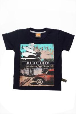 Little Kangaroos Graphic Print Boy's Round Neck Black T-Shirt