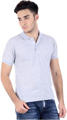 FLAH Solid Men's Polo Neck Grey T-Shirt