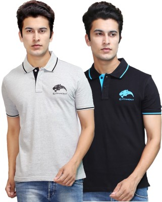 CATAMONT Solid Men's Polo Black, Grey T-Shirt