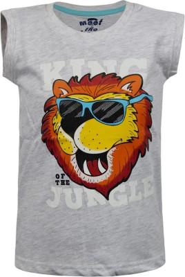 Kothari Printed Boy's Round Neck Grey T-Shirt