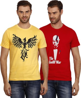 Crush on Craze Printed Men's Round Neck Yellow, Red T-Shirt