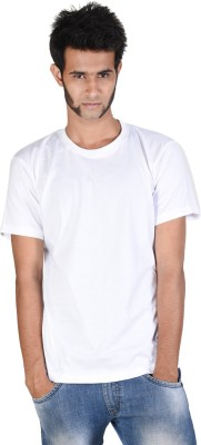 Whistle Solid Men's Round Neck White T-Shirt