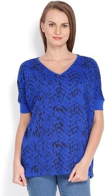 Tokyo Talkies Solid Women's V-neck Dark Blue T-Shirt