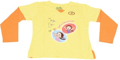 Green Gold Printed Boy's V-neck Yellow T-Shirt