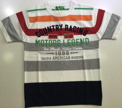 Taiga Striped Boy's Round Neck Orange T-Shirt