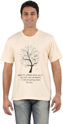 Merica Printed Men's Round Neck Beige T-Shirt