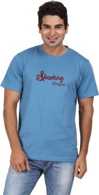 CH Solid Men's Round Neck Blue T-Shirt