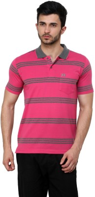 Cotton County Premium Striped Men's Flap Collar Neck Pink T-Shirt