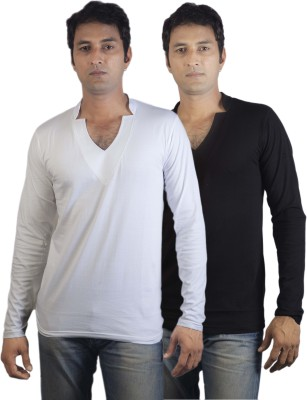 Vagga Solid Men's V-neck Black, White T-Shirt