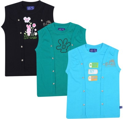 SPN Garments Printed Girl,s Round Neck Black, Green, Blue T-Shirt
