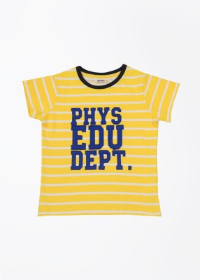 People Striped Boy's Round Neck Yellow T-Shirt