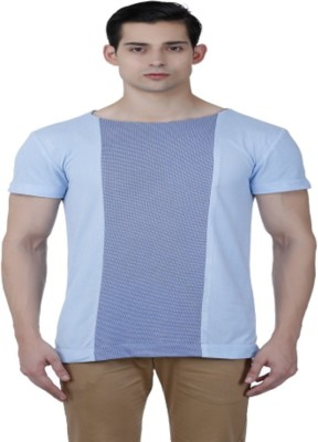 Baba Rancho Solid Men's Round Neck Blue T-Shirt
