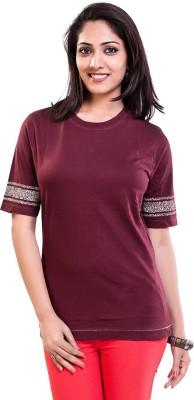 TVENO Solid Women's Round Neck Maroon T-Shirt