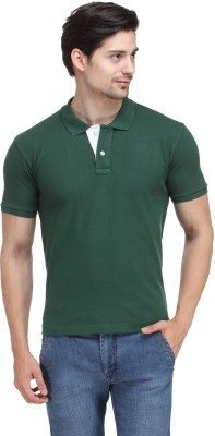 Happy Hippie Solid Men's Polo Green T-Shirt