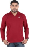 DS WORLD Solid Men's Polo Neck Maroon T-...