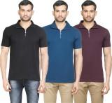 Poshuis Solid Men's Polo Neck Black, Blu...
