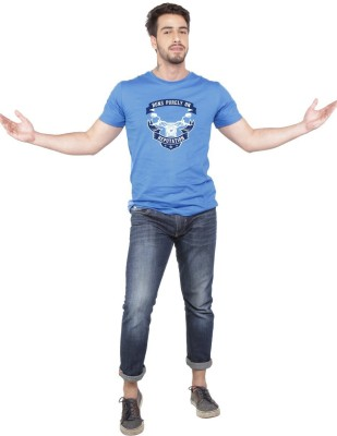 Beer Studio Printed Men's Round Neck Blue T-Shirt