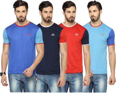 Canyons Solid Men's Round Neck Blue, Dark Blue, Red, Light Blue T-Shirt